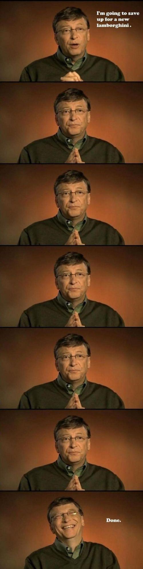 Humor: Bill Gates ahorra para un nuevo lamborghini